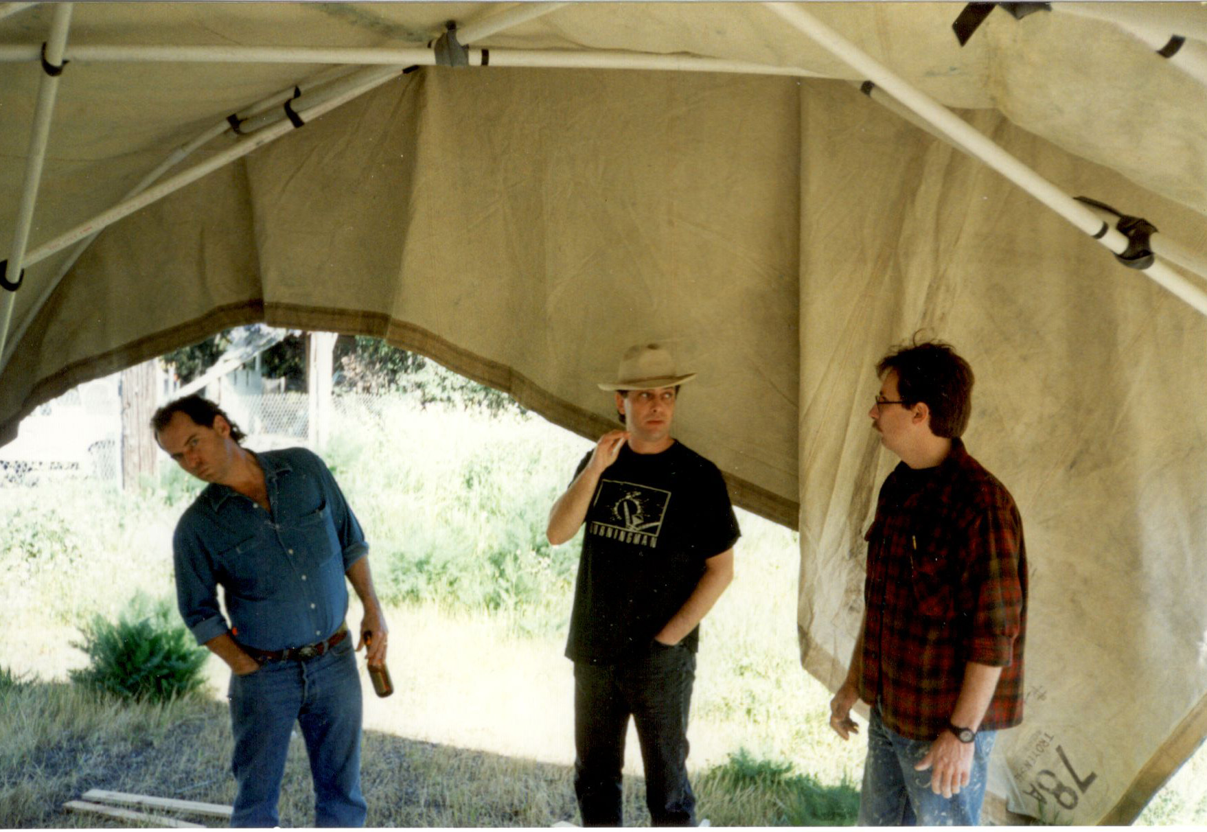 Chris Radcliffe, Larry Harvey & Chris DeMonterey under the PVC Shade Structure- 1994